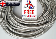 8mm Stainless Steel Braided Hose Rubber Fuel Line Hose Pipe + End Finisher clips
