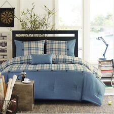 Modern Taupe & Blue Plaid Buttons Comforter Pillow Shams AND Decorative Pillow