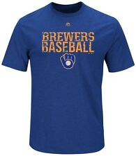 Milwaukee Brewers MLB Mens Majestic One Winner Shirt Royal Big & Tall Sizes
