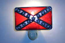 "STAINED GLASS STYLE ""REBEL  FLAG ""  NIGHT LIGHT"