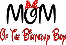 Easy Iron On Minnie Mouse Mom of the Birthday boy T Shirt Transfer Minnie Red