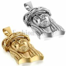 Men's Gold and Silver Tone Stainless Steel Jesus Pendant Prayer Necklace Chain