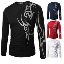 Slim Fit Casual Mens Round Neck Print T-Shirt Tattoo New Top Long Sleeve