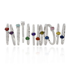Sterling silver 925 cubic zirconia crystal cz birthstone stacking eternity ring