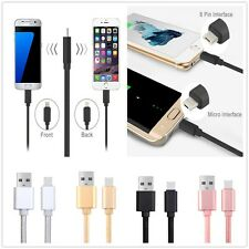 2in1 Micro USB Sync Data Charging Cable Charger For Apple iPhone Android Phone