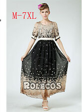 Women Oversize Bohemia Lantern Sleeve Long Party Evening Gowns Dress Plus Size
