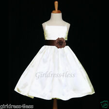 IVORY/BROWN WEDDING SPAGHETTI STRAPS WEDDING FLOWER GIRL DRESS 12M 2 4 6 8 10 12