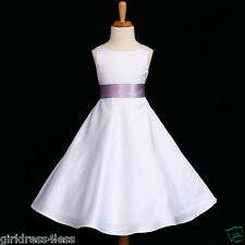WHITE/LILAC WEDDING A-LINE EASTER FLOWER GIRL DRESS 12M 2/2T 3/4 6 8 10 12 14 16