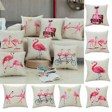 Cartoon Pink Flamingo Soft Pillow Case Throw Cushion Cover Home Car Decor Square