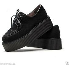 Punk Women's Faux Suede  Lace Up High Platform Creeper Goth Shoes Size5-9