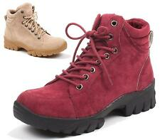 Ladies Hiking Boots Womens Ankle Boots Faux Suede Combat Chelsea Walking Shoes