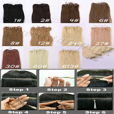 "Loop Micro Ring Beads Tipped Human Hair Extensions  Hot Sales 18""20""22"" 100S"