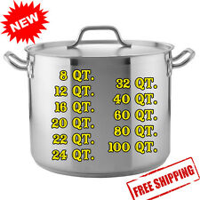 8 12 16 20 24 32 40 60 80 100 QT. Commercial Stainless Steel Stock Pot with Lid