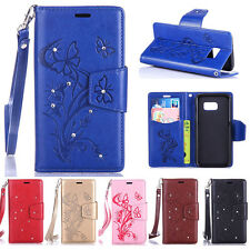 Diamond Embossed Floral Card Solt Leather Wallet TPU Case Stand Cover For Phone