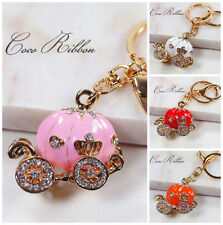 Cinderella 3D Enamel Rhinestone Pumpkin Carriage Alloy Key Chain Ring Keychain