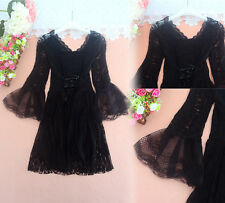 Sweet Lolita Vintage V-neck Trumpet sleeves Lace Sexy Dress Long Sleeve Gothic##