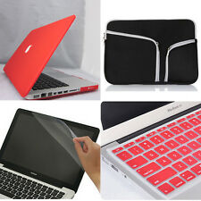 """4in1 Red Frosted Matte Hard Case Cover Bag for Macbook Air Pro 11"""" 13"""" 15""""inch"""