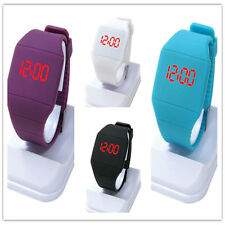 Fashion Women Men Kids Candy Jelly Silicone LED Digital Sport Touch Watches UA