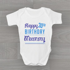 Personalised Happy Birthday Mummy Boys Baby Grow, Body Suit Vest