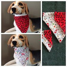 Reversible Pet Bandanas Over Collar Red Paw Print & Dogs with Fire Hydrants 2in1