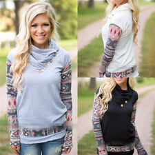 Womens Long Sleeve Button Printed T-Shirts Fashion Tops Loose Casual Blouses