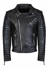 Mens Leather Jacket Black Slim fit Biker Motorcycle Genuine Leather Jacket MJ696