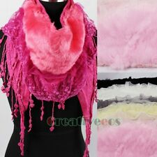 Women Fashion Plush Faux Fur Floral Lace Ruffle Trim Tassel Triangle Scarf Shawl