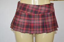 BURGUNDY SCHOOLGIRL TARTAN PLAID PLEAT MICRO-MINI SKIRT ( micro Burgundy)