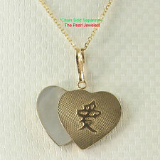 """14k Yellow Gold love """"AI"""" Heart; White Mother of Pearl Pendant Necklace TPJ"""
