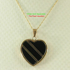 14k Yellow Solid Gold Heart in Love & Hearts Black Onyx Pendant Necklace TPJ