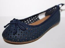 Gap Kids NWT Girl 11 Navy Blue Perforated Faux Leather Bow Ballet Flats Shoes