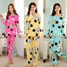 New Thin Women Pajamas Nightwear Cartoon Pajama Sets Sleepwear Tops Pants PJS P1