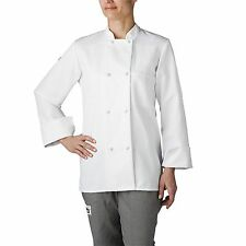 Chefwear 4430-40 Women's Long Sleeve Cloth Knot Button Chef Jacket, White XS-5XL