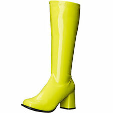 ELLIE Shoes Knee High Boot Side Zipper Retro Patent Vintage GOGO-N Neon Yellow