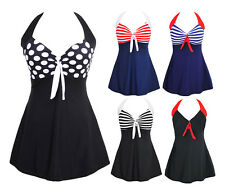 Vintage Sailor Pin Up Swimsuit Swimwear One Piece Skirtini Cover Up Swimdress