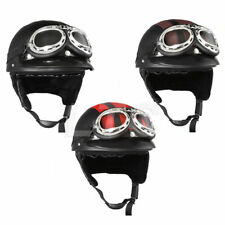 Vintage Motorcycle Scooter Open Face Leather Harley Half Helmet Goggles DOT ECE