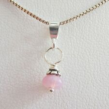 Pink 5mm Czech Glass Bead Pendant Charm and Necklace- Free Shipping