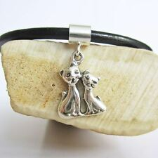 Siamese Cats Mini Sterling Silver European-Style Charm and Bracelet-FreeShipping