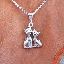Siamese Cats Sterling Silver Mini Pendant Charm and Necklace- Free Shipping