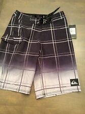 NWT $49.50 QUIKSILVER Black/Gray Plaid Board Shorts With Cargo Pocket