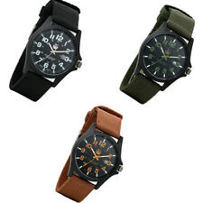 Men's Quartz Wrist Watch 24 Hour Dial Date Analog   Sport Tactical Nylon Band