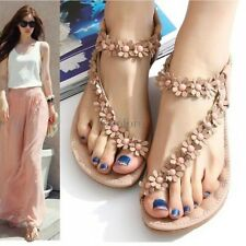 Summer Sandals Bohemia Style Flower Flat Thong Shoes For Women Lady's Strappy