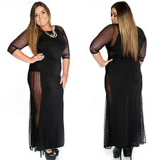 Sexy Womens 3/4 Sleeve Crew Neck Evening Party Cocktail Long Dress Plus Size
