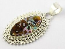 Natural Abalone Shell 925 Sterling Silver Handmade Gemstone Pendant With Loop