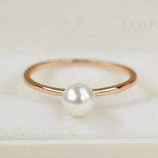 18k Rose Gold GP Band Stack Knuckle Open Ring Simple Single Pearl Thin Ring