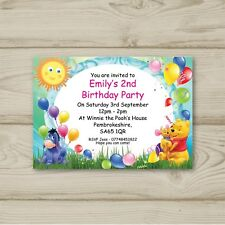 10 Personalised Birthday party invitations Winnie the Pooh
