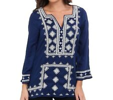 Lucky Brand Adalyn Embroidered Tunic Blouse Top (Blue Multi, M, NWT)