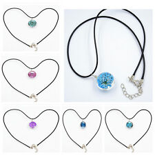 Fashion Glass Ball Necklace Pendant Crystal Chain Dried Real Flowers Jewelry