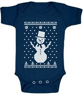 Big Snowman Ugly Christmas Sweater - Cute Xmas Bodysuit Baby Onesie Grow Vest