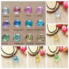Fashion Glass Ball Crystal Pendant Necklace Chain Dried Real Flowers Jewelry